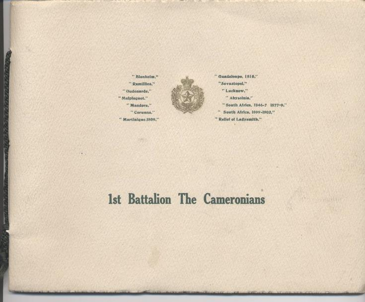 Booklet '1st Battalion The Cameronians'