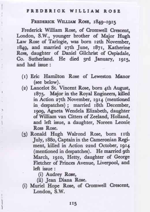 Genealogy Capt Ronald Hugh Walrond Rose
