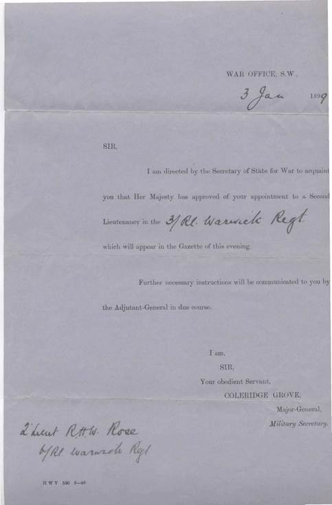 Appointment as 2nd Lieutenant Warwick Regiment