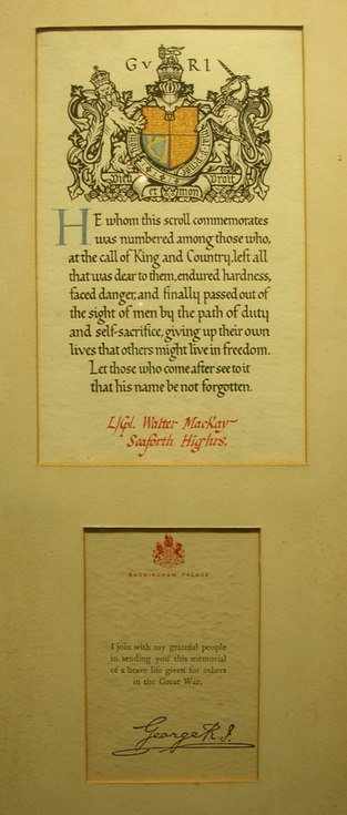 Framed scroll Lance Corporal Walter Mackay