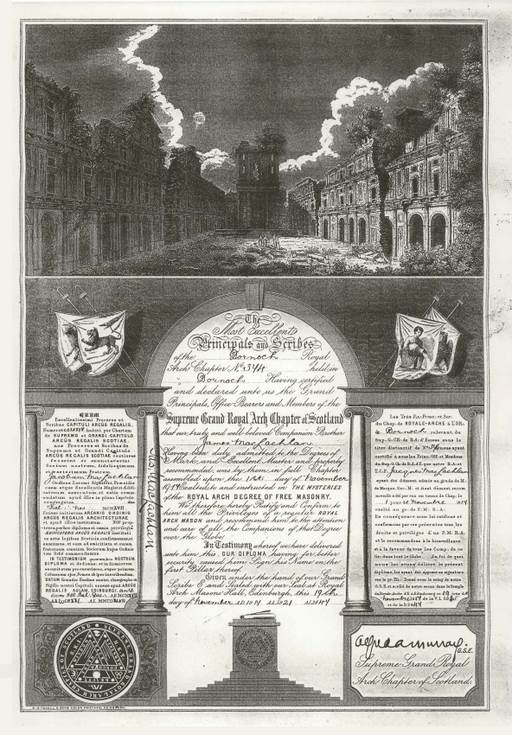 Freemasons' diploma ~ James MacLachlan