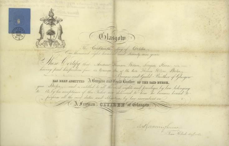 Freedom of Burgh of Glasgow ~ Andrew Wilson