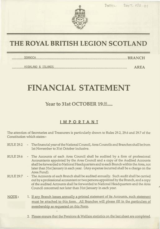 Royal British Legion Financial Statement