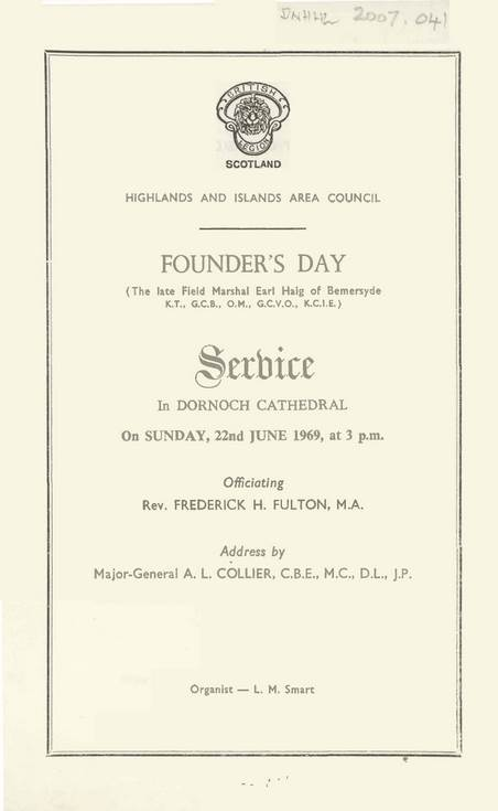 Founder's Day Order of Service