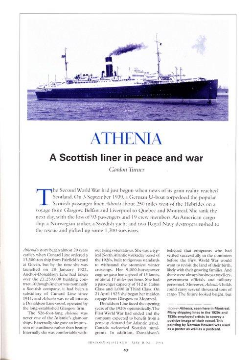 History Scotland May/June 2004 ~ S.S.Athenia