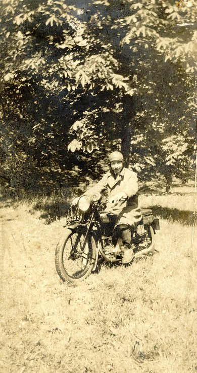 Kenneth Button Senior on motorcycle c 1930
