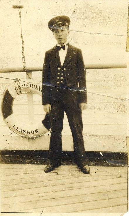 Kenneth Button senior serving in Merchant Navy c 1930