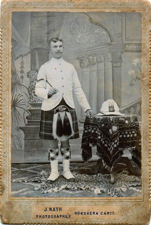 Donald Mackay in full dress tropical uniform Seaforth Highlanders
