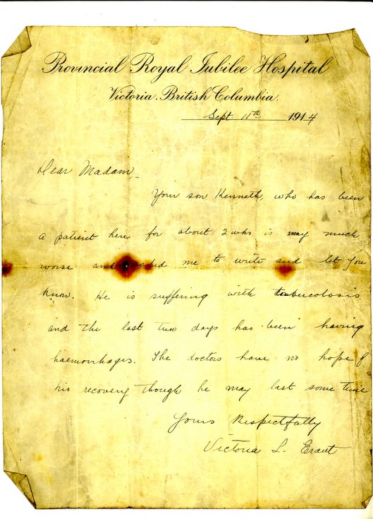 Letter from Provincial Royal Jubilee Hospital 1914