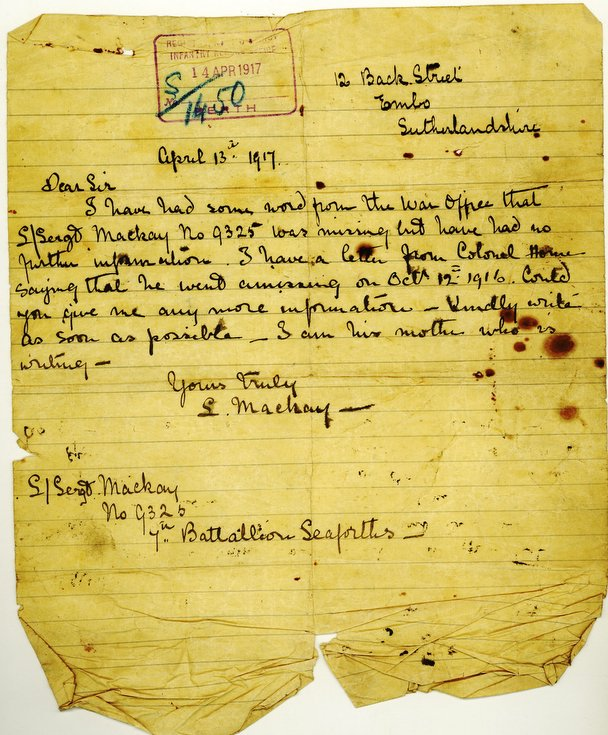Letter from Lexy Mackay enquiring about her son 1917