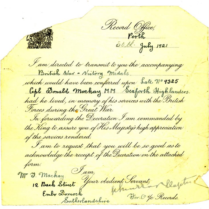 Record Office Perth  letter 1921 forwarding medals