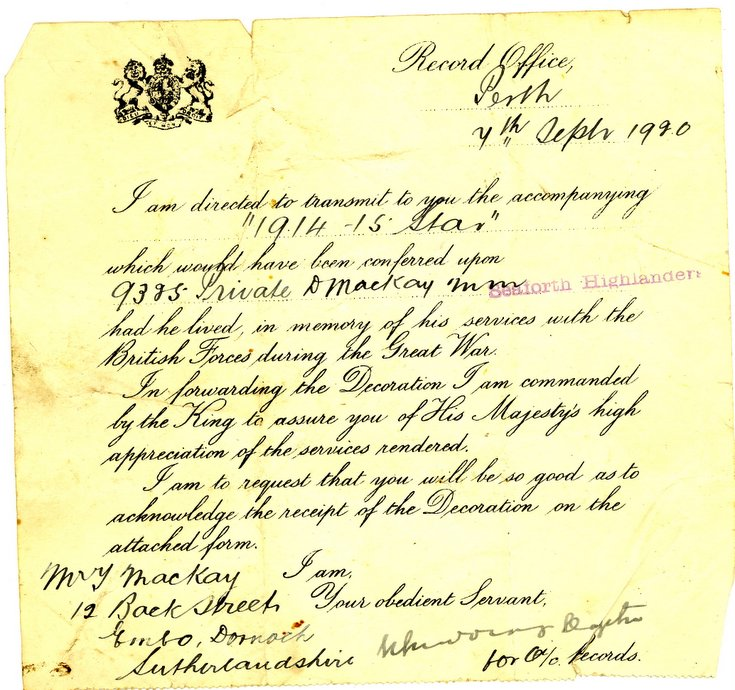 Record Office Perth letter forwarding 1914-15 Star