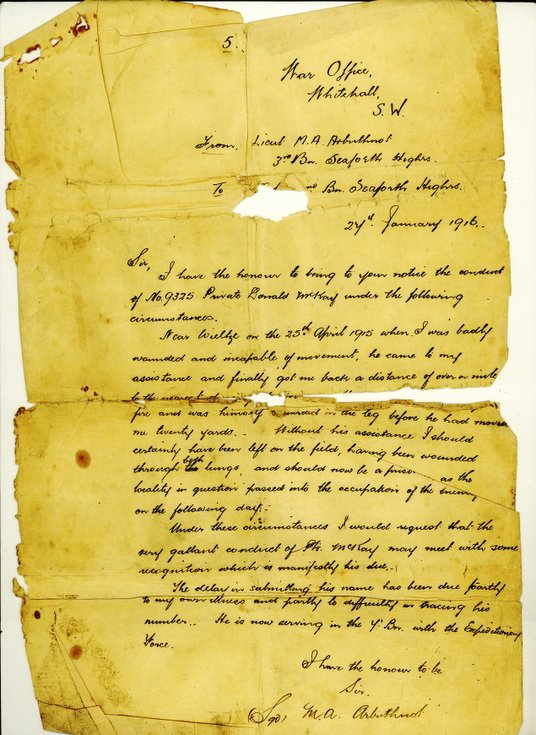 Lieut Arbuthnot's letter citing Donald Mackay's gallantry