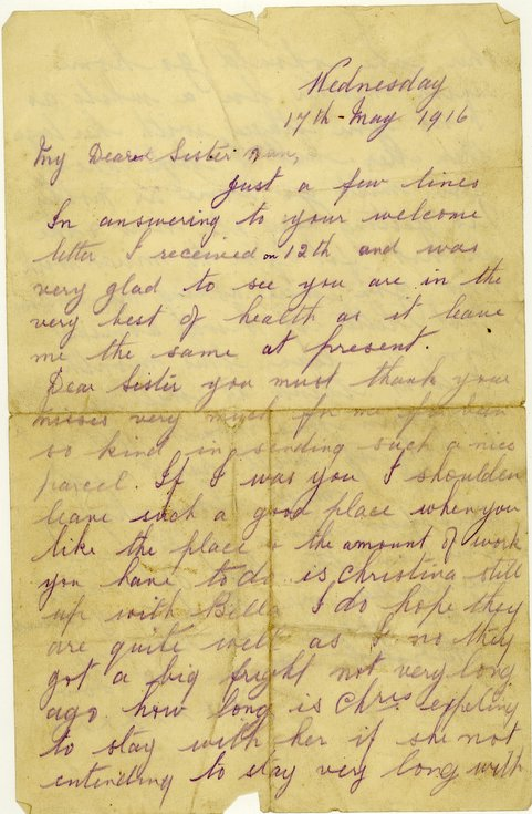 Letter from Donald Mackay to his sister May 1916