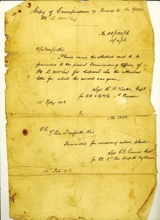 Paper concerning award to Pte Donald Mackay