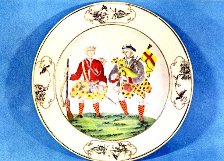 Postcard of plate depicting Scottish Highlanders