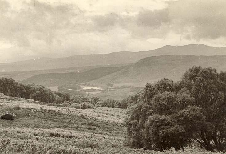 Christmas card with photograph of Ross-shire hills.