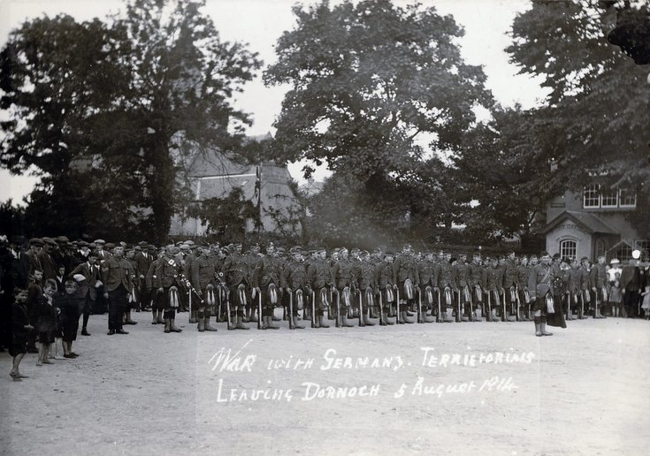 Territorials leaving Dornoch 5 Aug 1914