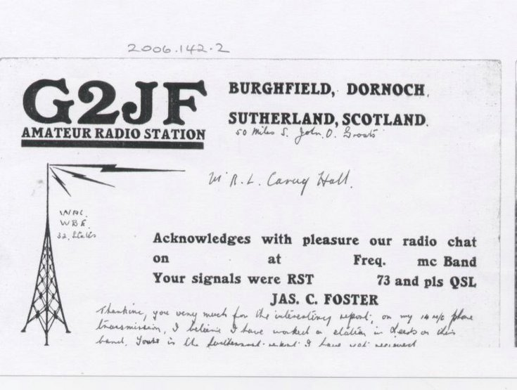 Note from G2JF Amateur Radio Station, Burghfield