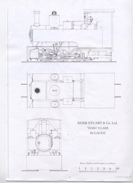 Diagrams of Kerr Stuart 'Haig'  class locomotive