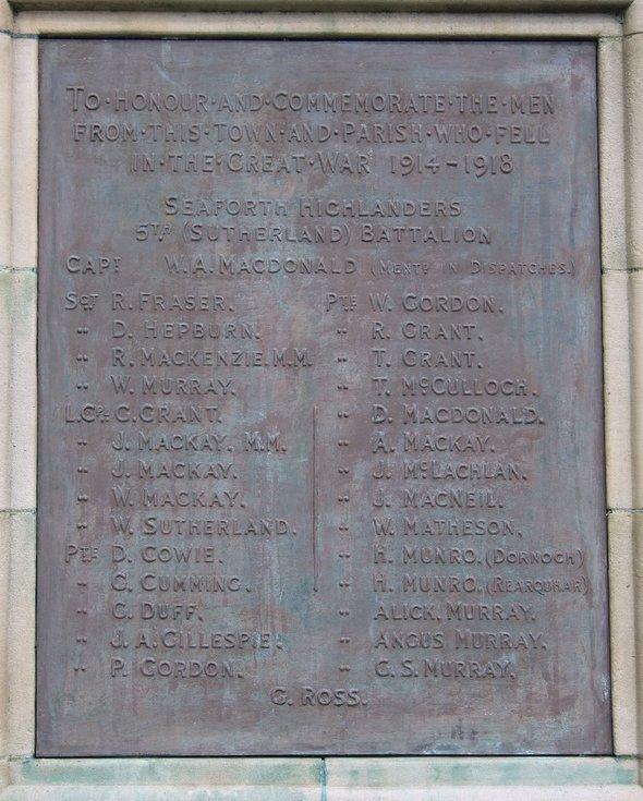 Dornoch War Memorial front plaque WW1