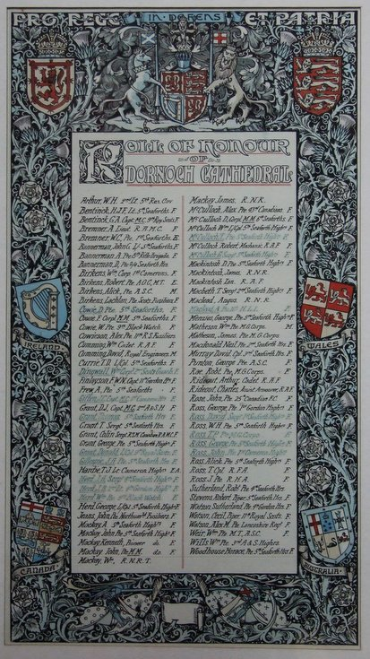 Dornoch Cathedral Congregation Roll of Honour