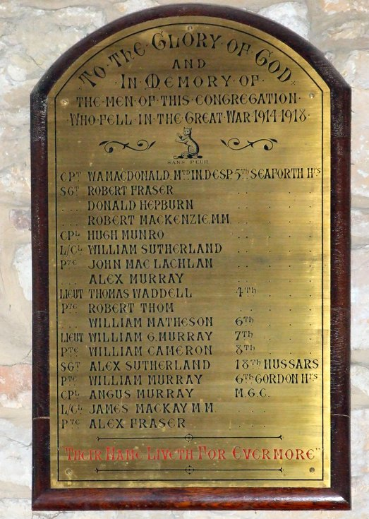 United Free Church Congregation Roll of Honour WW1