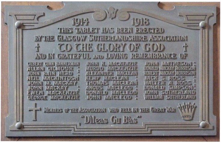 Glasgow Sutherland Association plaque Dornoch Cathedral