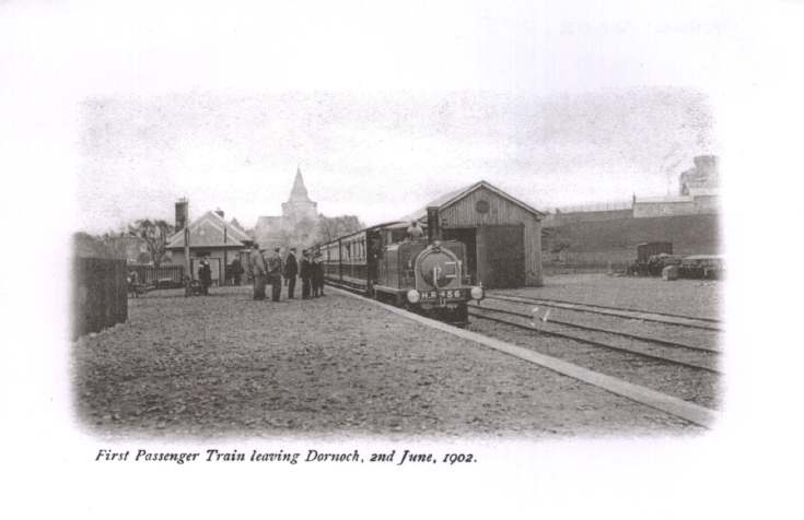 Photograph of train at Dornoch station