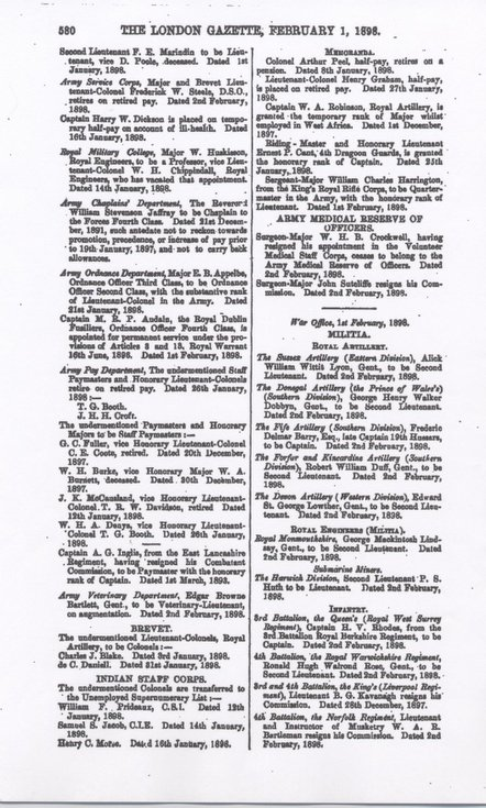 Extract from London Gazette Feb 1 1898