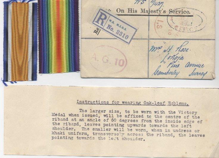 Registered letter for HM Medal Office