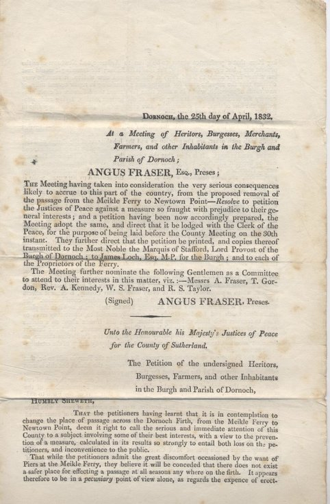 Petition against removal of ferry to Newtown Point ~ 1832