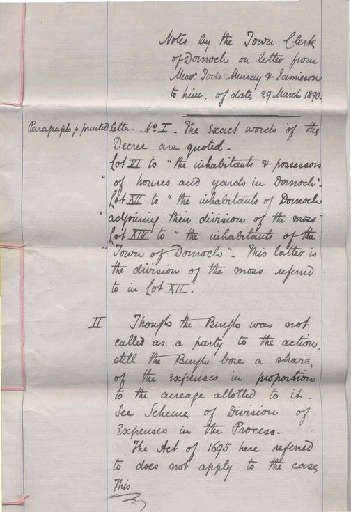 Notes on letter from Tods, Murray and Jamison to H.M. Mackay ~ 1890
