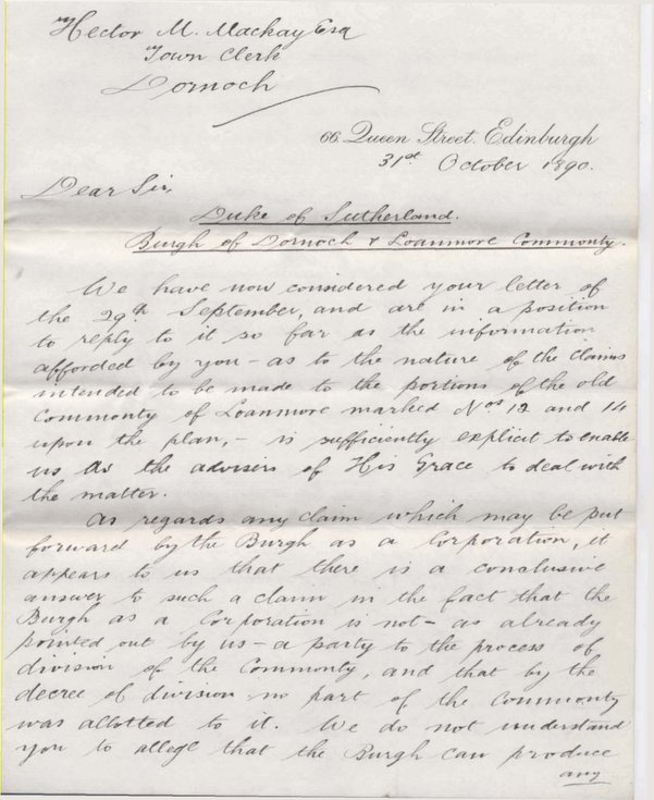 Letter from Tods, Murray & Jamieson to H.M.Mackay ~ 1890