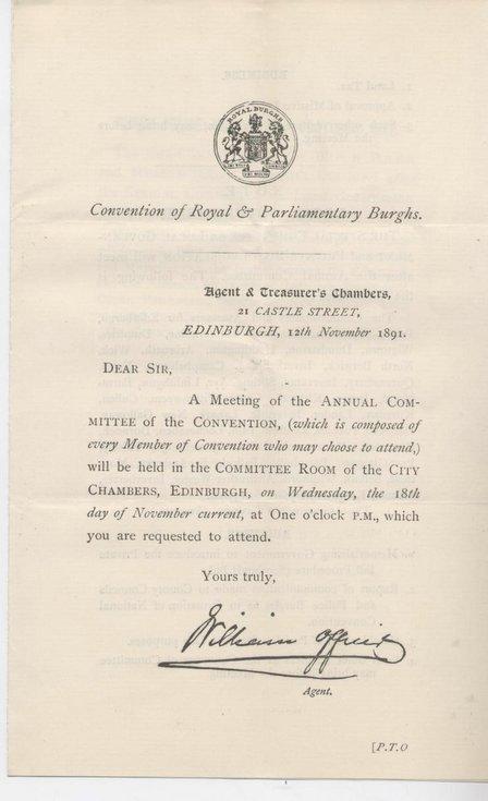 Agenda ~ Convention of Royal Burghs ~ 1891