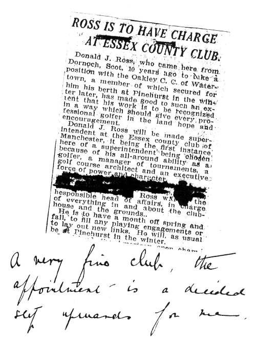 Newspaper cutting about Donald Ross