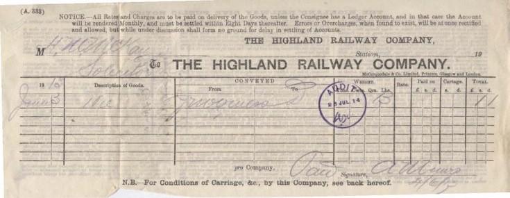Highland Railway Company bill ~ 1913