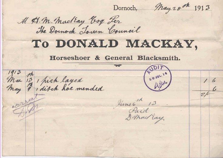 Blacksmith's bill ~ 1913