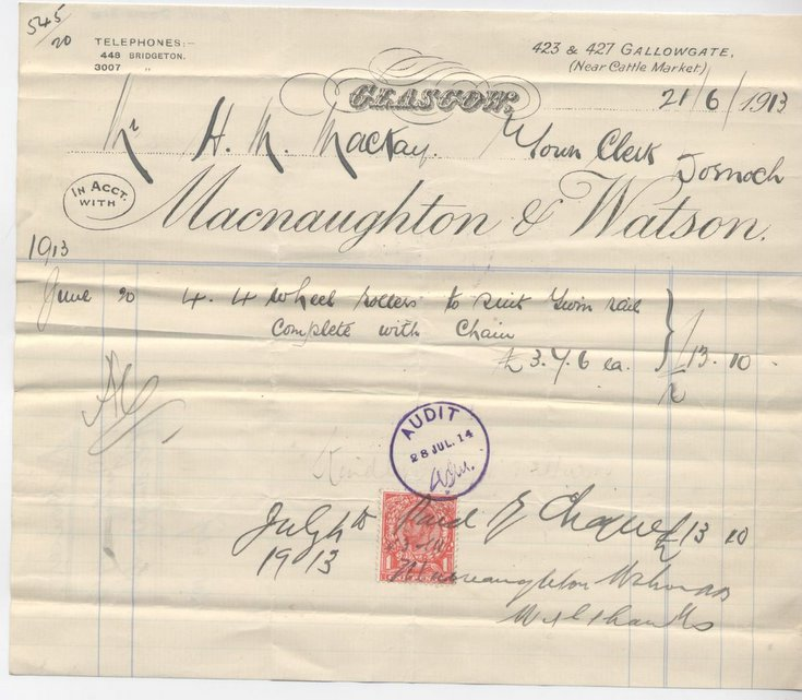 Bill from Macnaughton & Watson, Glasgow ~ 1913
