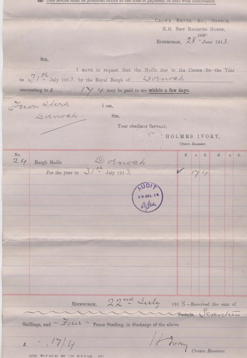 Bill for burgh maills (sic) ~ 1913