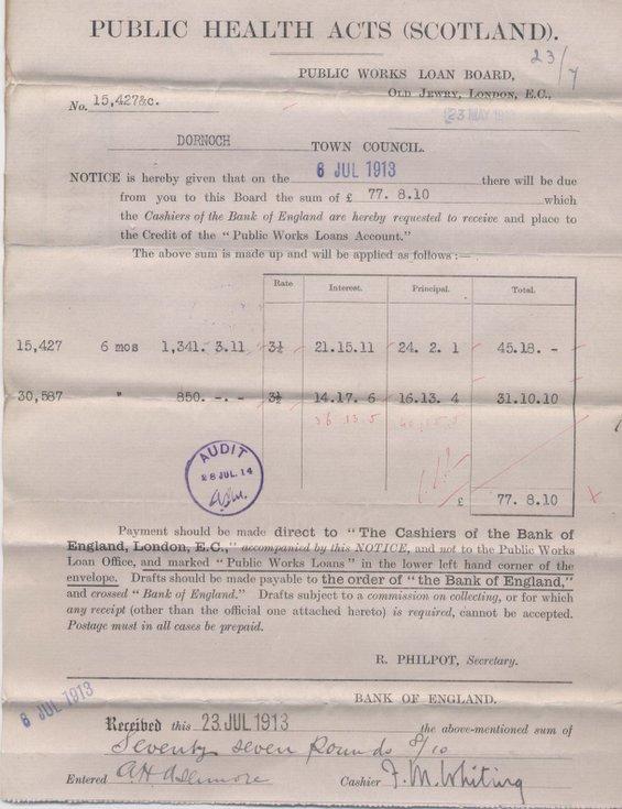 Bill for interest on Public Works Loan ~ 1913