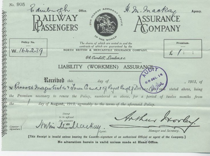 Receipt for workmen's liability assurance premium ~ 1913