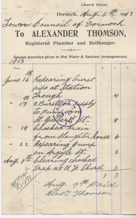 Bill for repairs to pumps etc. ~ 1913