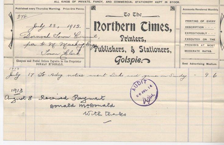 Bill for advertising ~ 1913