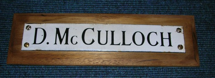 Enamel name plate for D McCulloch