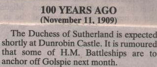 Northern Times reference to Battleships off Golspie