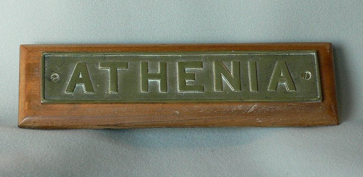 Nameplate from SS Athenia lifeboat