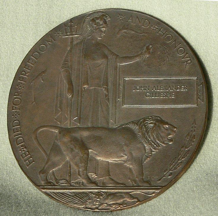 WW1 plaque John Alexander Gillespie
