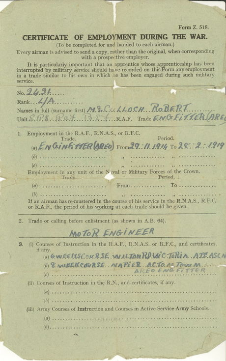 Certificate of Employment during the War (WW1)