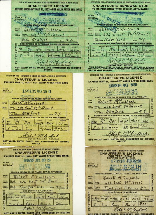 1928-32 New York Drivers Licences Robert McCulloch
